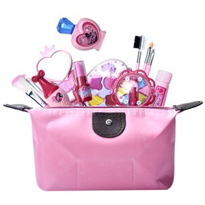 12pcs Girls Simulation Eye Shadow Makeup Kit Pretend Play Cosmetic Bag Role Play Classic Pretend Toys For Children - Pink Rosy T200712