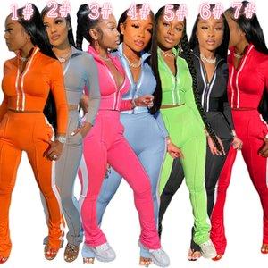 Frauen Designer Anzug 2-teiliges Set Sport Freizeit Mode Langarm-Micro Schlaghose Outfits Zipper Top Hosen Zu hk156