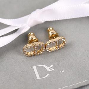 D lettera a casa CD pieno di diamanti 925 aghi d'argento femminile orecchino accessorio anti-allergia alta versione
