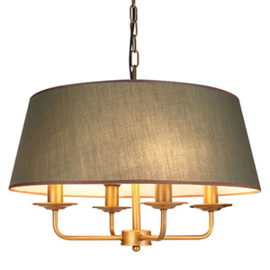 Fabric Drum Shade Pendant Lamp Home Ceiling Light Living Room Dining Room Bedroom Chandelier Fixture PA0398