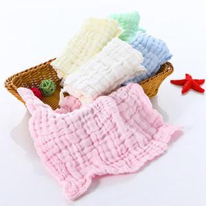 Babytücher 6 Schichten Baumwollgaze Rags Muslin Baby Pflege Handtuch Infant Gesicht Handtuch Handkerchief Wipe-Tuch 5 Farben DW5598