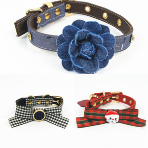 12 Styles Plaid Pattern Cute Dogs Cats Collars Santa Claus With Bow Pets Collar Teddy Pug Anti-lost Collar Dog Supplies