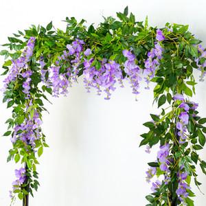 2m Long Wisteria Vine Rattan Flowers for Wedding Arch Party Decoration White Vine Artificial Flowers Flores Garland Wreath