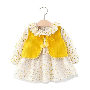 2020 kids clothes Knitted vest with circle printing dress, autumn kids suit