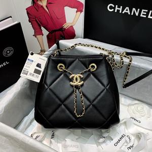 7A High-end de qualidade personalizada senhoras clássicas saco balde de couro delicada pele de cordeiro Turinger corda clássico saco de moda versátil