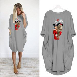 Women's DIY Dresses Fashion Summer Women's Long Sleeve Loose Casual Dress Women Brief Skirt 6 Colors Asian Size S-5XL A803