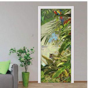 Door sticker3D Door Sticker Removable Tropical Rainforest Flower Bird Scenery Home Interior Waterproof Self Adhesive Baby Childr