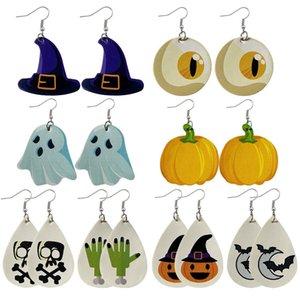 Halloween Christmas Theme leather Earrings Skull Pumpkin Print Drop Dangle Earring Jewelry Gifts for Women Girls 2020