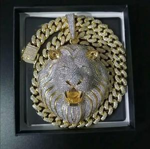 Gioielli da uomo Hip-hop Iced Out Collana pendente Bling Diamond Catena di collegamento cubano Big Pendenti Lion Animal Rapper Accessori