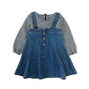Kids Full Sleeve Denim Dress Girls Fake Two Piece Patchwork Suspender Dresses Children Girl Spring Autumn Fall Plaid Clothes