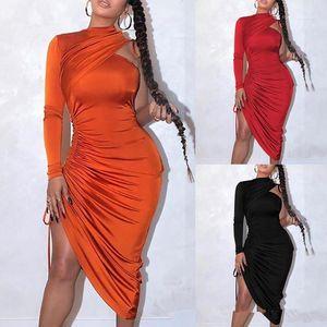Pileli Skinny Bayan Elbise Tek Omuz Katı Renk Halter Uzun Kollu Yaz Kadın dizayn edilmiş elbiseler Casual BODYCON Elbiseler