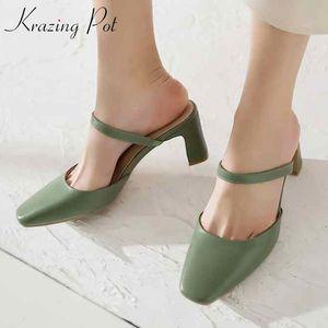 Krazing Pot full grain leather retro vintage high heels slip on mules women square toe street beat elegant female sandals L07