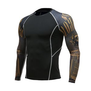 Run Mens Fitness Long Sleeves Rash Guard T Shirt Men Running Bodybuilding Tight Thermal Compression Shirts Gym Workout T-Shirt