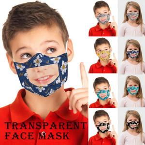 Masken Kinder Lippen Sprache Respirator Kinder Printed PET Klare Mundschutz Waschbar Visible Gesichtsmasken im Freienbaumwollschutzmaske LSK438