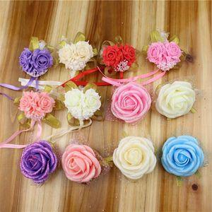El Çiçek Düğün İmitasyon Bilek Çiçek Gelinlik Sisters Korsaj Düğün Gelin Balo Dekorasyon Bilezik Simülasyon Çiçek DHC113