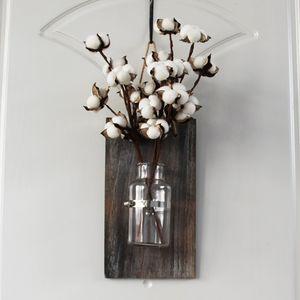 Cotton Stem arredamento rustico decorazione della parete di legno Disposizione Planter parete cotone Otturatore decorazione della parete del Titolare Hanging Pianta di cotone Boll Gambi