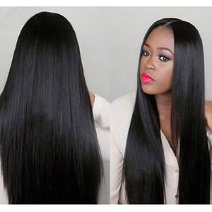 Sıcak Popüler Peruk Doğal Yumuşak Siyah Düz Uzun Bebek Saç Isıya Dayanıklı Tutkalsız Sentetik Dantel Ön Peruk Kadınlar Için