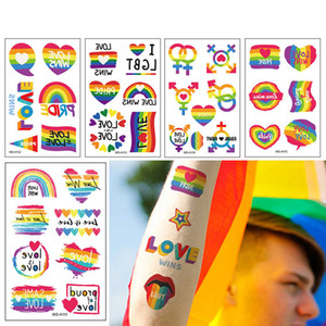 Pride Day Tattoo 1 Sheet Temporary Tattoo Sticker Rainbow Pattern Flash Waterproof Pride Day Fashion Small Body Art Men Women Child AC1123