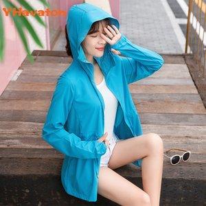 Women's Hooded Jackets 2020 Summer windbreaker Women Basic Jackets Coats Zipper Lightweight Jackets Shirt Sunscreen Blouse Women Y200622