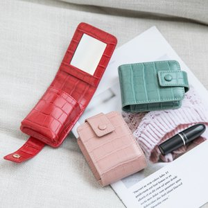 Mini Clutch Purses Lipstick Organizer Protable Pu Leather Crocodile Pattern Makeup Bags with Mirror Girls Casual Cosmetic Bags