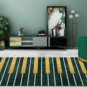Geometric piano fecha o tapete e Pattern Rug Ouro Verde Grey Kitchen Living Room Non-Slip Tapete de cabeceira quarto Sofá Tapete