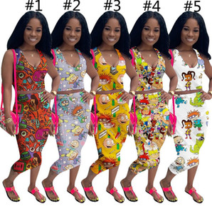 Mangas de chándal Impreso Diseño del verano historieta de las mujeres Tops T + falda de dos piezas traje con cuello en V ropa deportiva Trajes Moda D73001