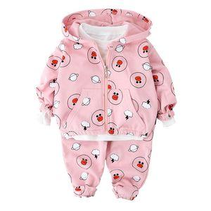 2020 Autumn Outfits Baby Girls Clothes Sets Cute Infant Cotton Suits Hooded Zipper Jacket Pants 2Pcs set Boys Kids Clothing Set