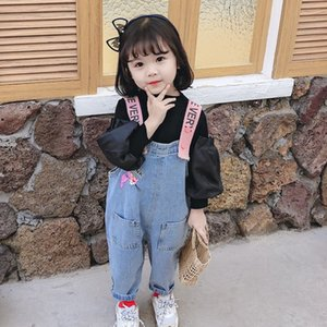 2020 new autumn belt trousers belt baby girl straps 1-3 years old children's autumn pants cartoon denim straps long pants