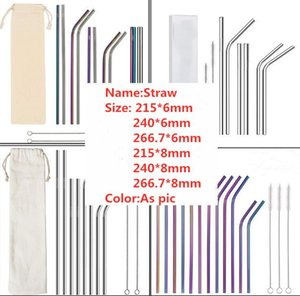 "100Pcs Stainless Steel Colored Drinking Straws 8.5""  9.5""  10.5"" Bent and Straight Reusable Drinking Straws DHL Free 111 018"