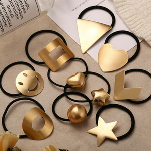 Hair Bands For Kids Cute Heart Geometric Metal Elastic Rope Hair Accessories Girl Gift Fashion Jewelry