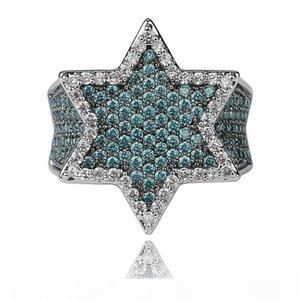 S Hip Hop Mint Green Zirconia Bling Hexagon Ring 18k Gold Plated Men &#039 ;S Finger Ring Luxurious Diamond Rap Ring