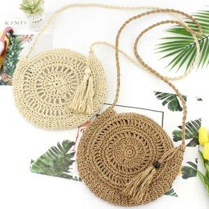 Bohemia Estilo Sacos Mulheres Straw Bag Rattan Bolsa tecida Summer Beach Bolsas de Ombro Rodada Tote redondo diâmetro 28X25cm