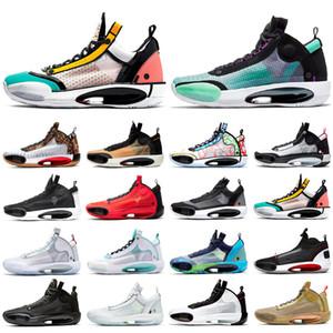 Yeni 34 mens basketbol ayakkabıları 34s Çıtır Eclipse Kızılötesi 23 Paris Kırmızı Orbit Regency Mor Miras CNY erkek spor ayakkabı jumpman