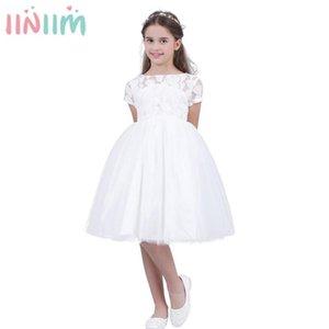 iiniim Kids Dresses for Girls White Vestido de festa Prom Dress Toddler Princess Children's Hollow Heart Dress for Evening Party