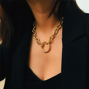 5Set Lot Punk Style Metal Necklace Bracelet Sets Circle Thick Cross Chain Women Female Fashion Hand Jewelry Sets Chokers Accessories