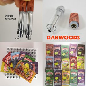 Dabwoods TH205 Vape Cartridges 1ml Wooden Drip Tips Glass Tanks Empty Ceramic Coil Vape Carts 0.8ml Vaporizers With Packaging Bags 13 Colors