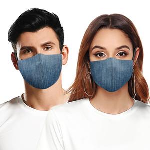 Moda Maschera antipolvere traspirante lavabile riutilizzabile della mascherina protettiva Maschere Jeans Camouflage stampa per uomini e donne di trasporto