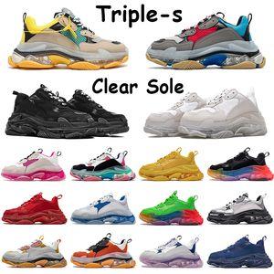 트리플의 명확한 유일한 캐주얼 신발 베이지 색 녹색 노란색 체육관 레드 블루 화이트 네이비 블랙 핑크 그레이 레인보우 메탈릭 실버 CHAUSSURES 남성 스니커즈