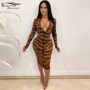 Bonnie Forest Beautiful Zipped Bust Tiger Printed Midi Dress Vintage Long Sleeve Bodycon Print Party Dress Night Out Vestidos