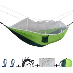 12 Colors 260*140cm Hammock With Mosquito Net Outdoor Parachute Hammock Field Camping Tent Garden Camping Swing Hanging Bed BH1746 TQQ