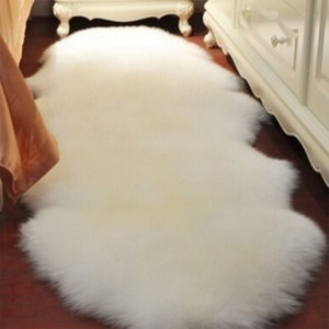 Washable Soft artificial Rug with Sheepskin Fur Floor Mats Imitation Wool Rug for Kids Room for Living Room Chair Seat Cover