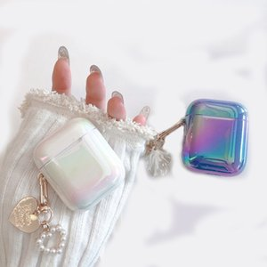 Laser Gradient Pearl Shell Keychain Water Drop Rainbow Hard Headphone Earphone Case For Airpods 1 2 Pro Wireless Headset Cover 378