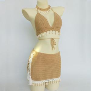 3pcs Bikini Set Mulher Crochet Shell Tassel Bikini Top E Seashell Ankle Cadeia Sexy Praia Saia Lace ver através Magro Mini Saia
