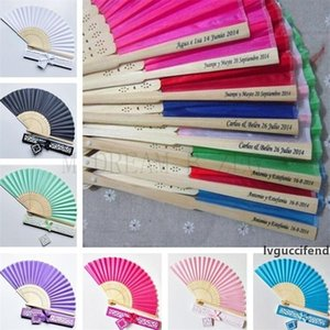 15 colors personalized wedding fans printing text on silk fold hand fans with gift box wedding favors and gifts