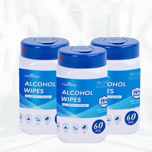 60pcs bottle 75% Alcohol Wet Wipes 120mm*100mm Portable Antibacterial Cleaning Tissue Disinfectant Wet Pads Skin Cleaning Wipes