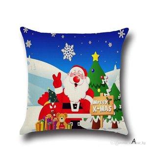 45*45CM Square Throw Pillow Case Merry Christmas Santa Claus Cotton Linen Cushion Cover Pillowcase Xmas Party Home Sofa Bed Decor