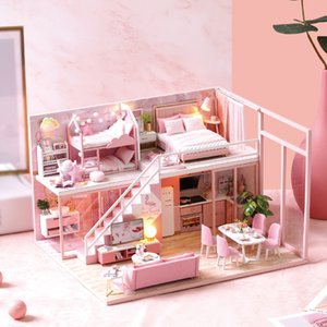 DIY Miniature Doll House Furniture 3D Wooden Dollhouse Furniture Kit Casa Music Led Light Handmade Toys For Children Gifts L-027 MX200414