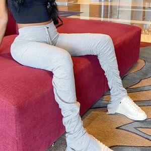2020 High Waist Sweatpants Women Joggers 2020 Elastic Summer Stacked Leggings Bell Bottom Trouser Split Hem Flare Ruched Pant