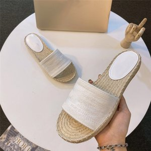 Female designer embroidery striped letter canvas shoes sandals luxury slippers flat shoes metal beach woven shoes free shipping