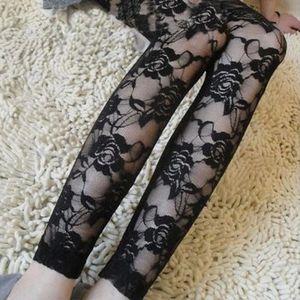 Romantik Gül Çiçek Gotik Dantel Hollow Out See Tayt sayesinde Pantolon Kadınlar Yeni Drop Shipping İyi Kalite